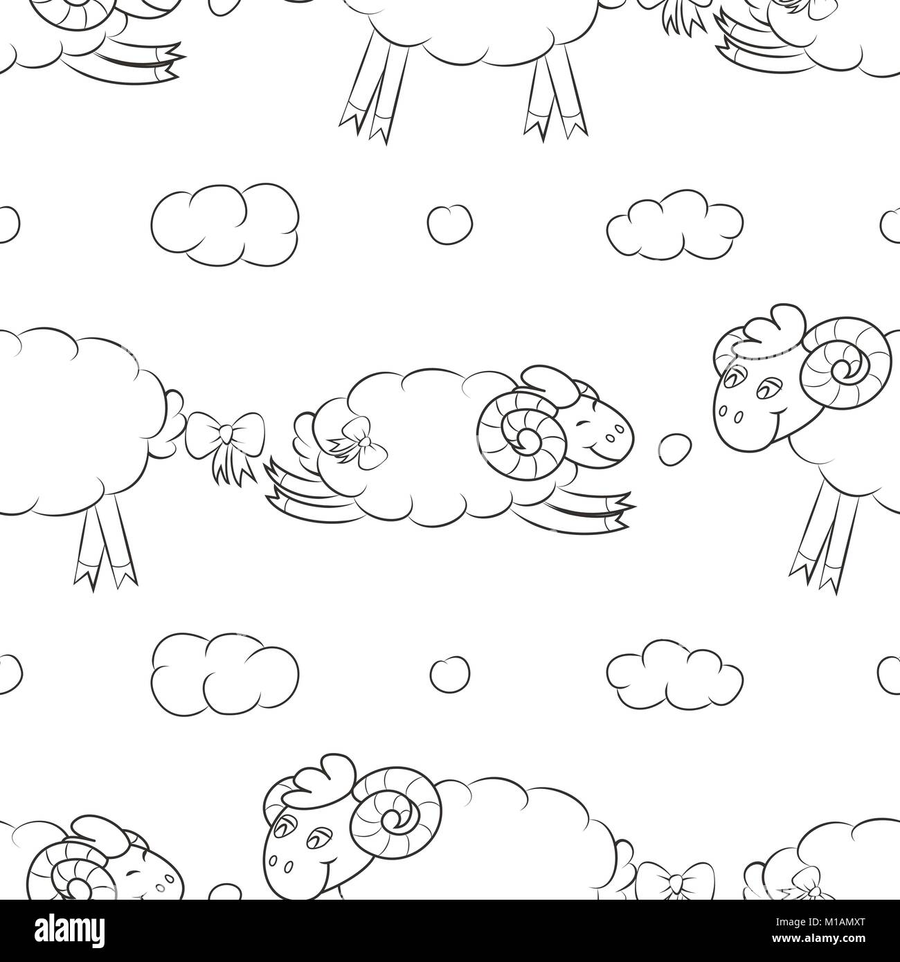 Funny sheep flying in the clouds. - Stock Image