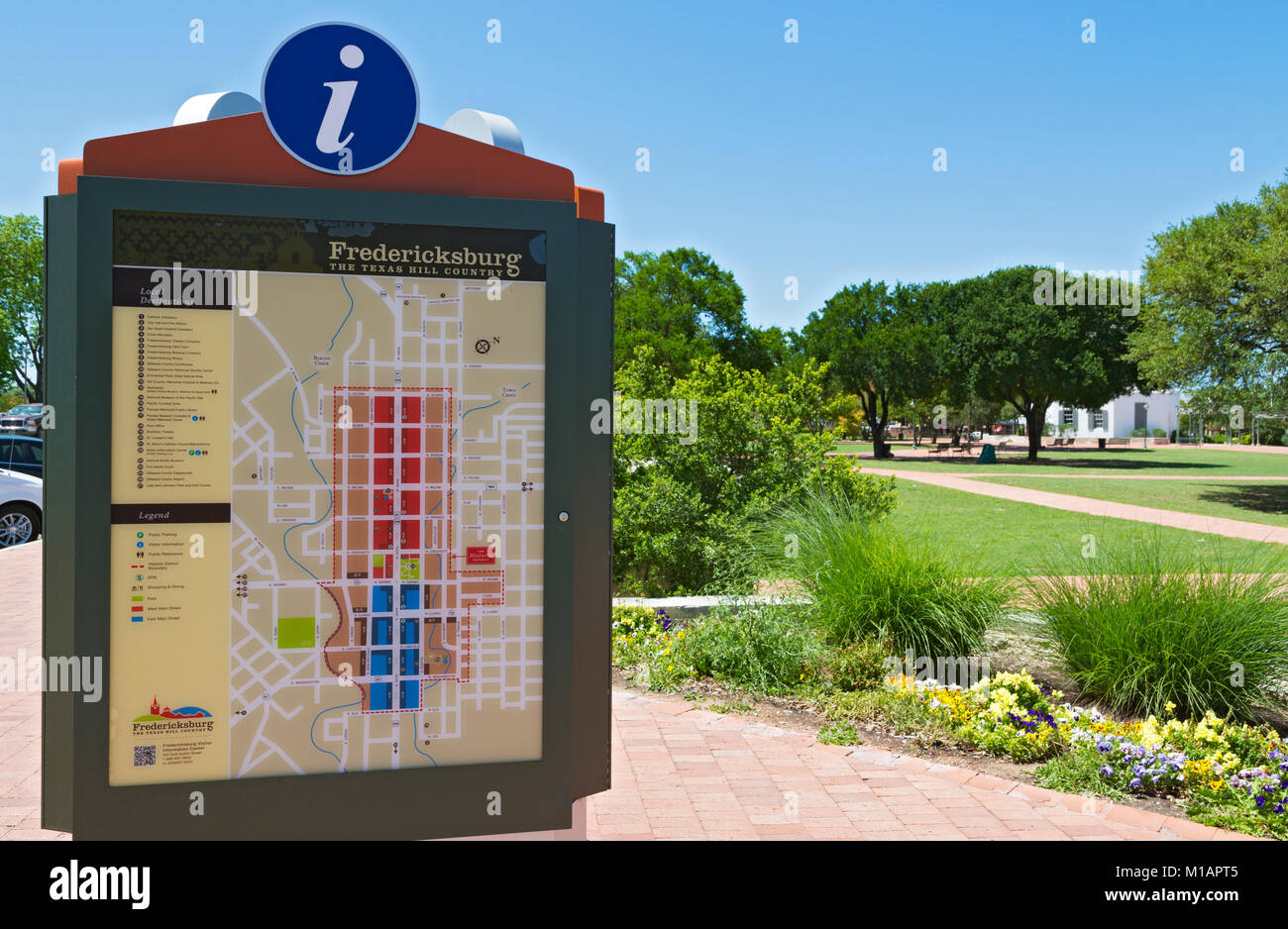 Texas, Hill Country, Gillespie County, Fredericksburg, Market Square, town map - Stock Image