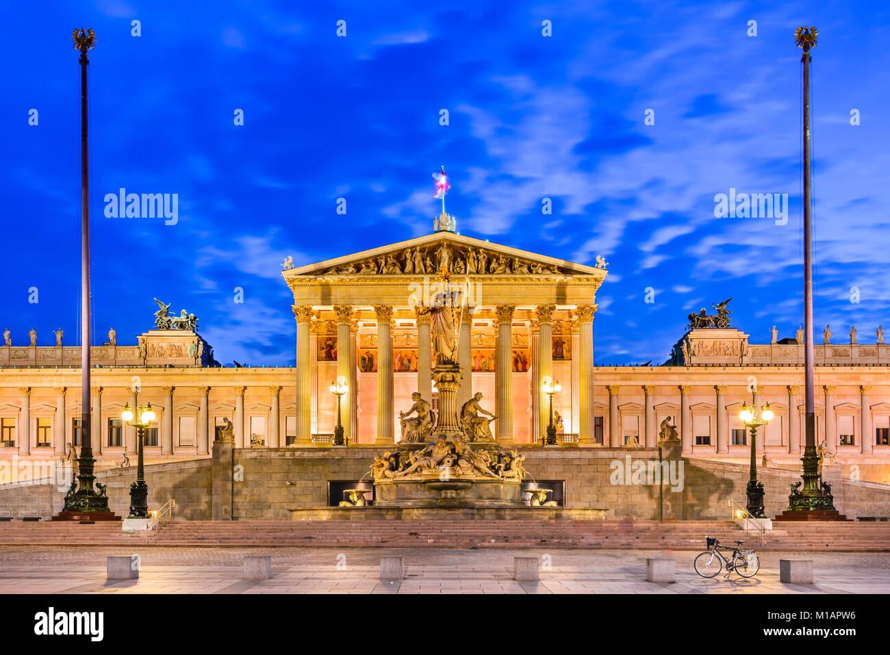 Vienna, Austria. Austrian parliament building, Ringstrasse, Innere Stadt in Wien. - Stock Image