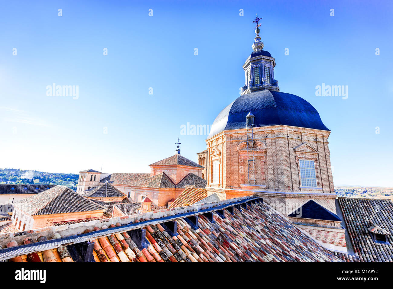 Toledo, Spain. View from tower of Jesuit Church, dedicated to San Ildefonso built in XVIIth century. - Stock Image
