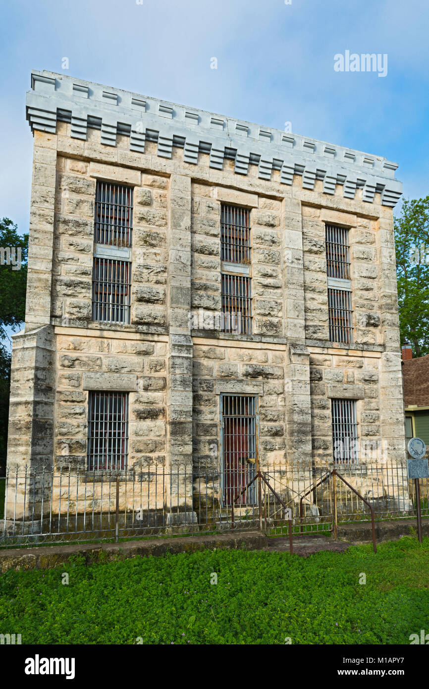 Texas, Hill Country, Fredericksburg, Gillespie County Jail in operation 1885 to 1939 - Stock Image