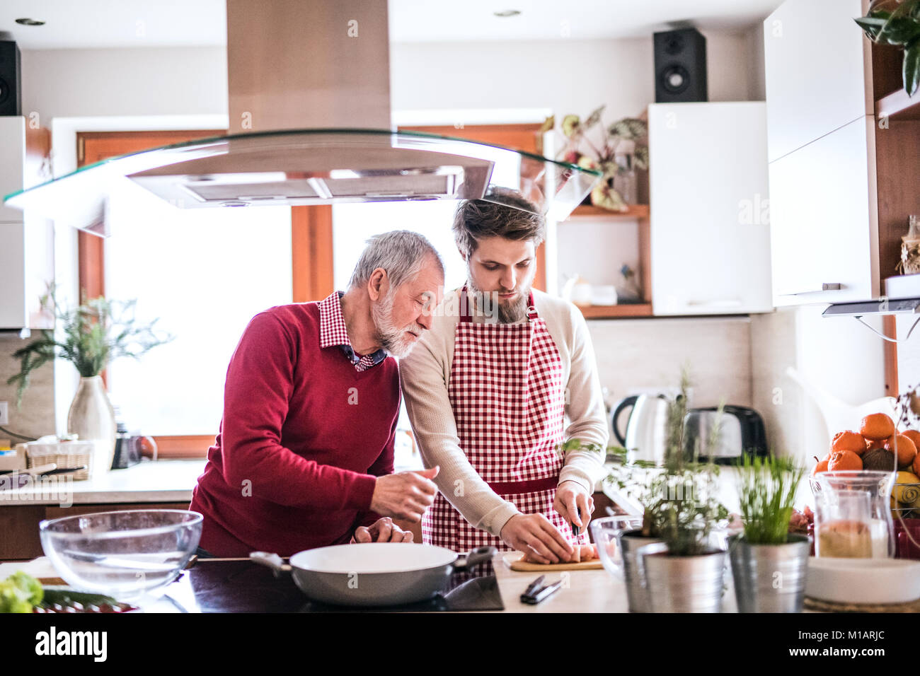 Hipster son with his senior father cooking in the kitchen. - Stock Image