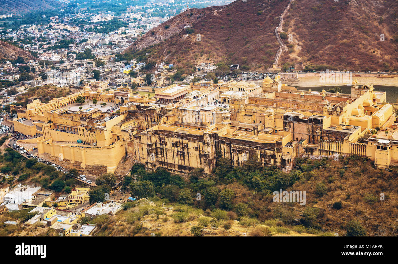 Amer Fort (Amber Fort) aerial view with Jaipur city landscape as seen from Jaigarh Fort, Rajasthan, India. - Stock Image