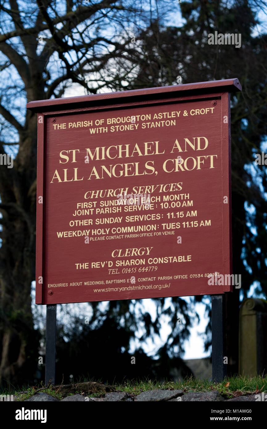 St. Michael and All Angels Church board, Croft, Leicestershire, England, UK - Stock Image