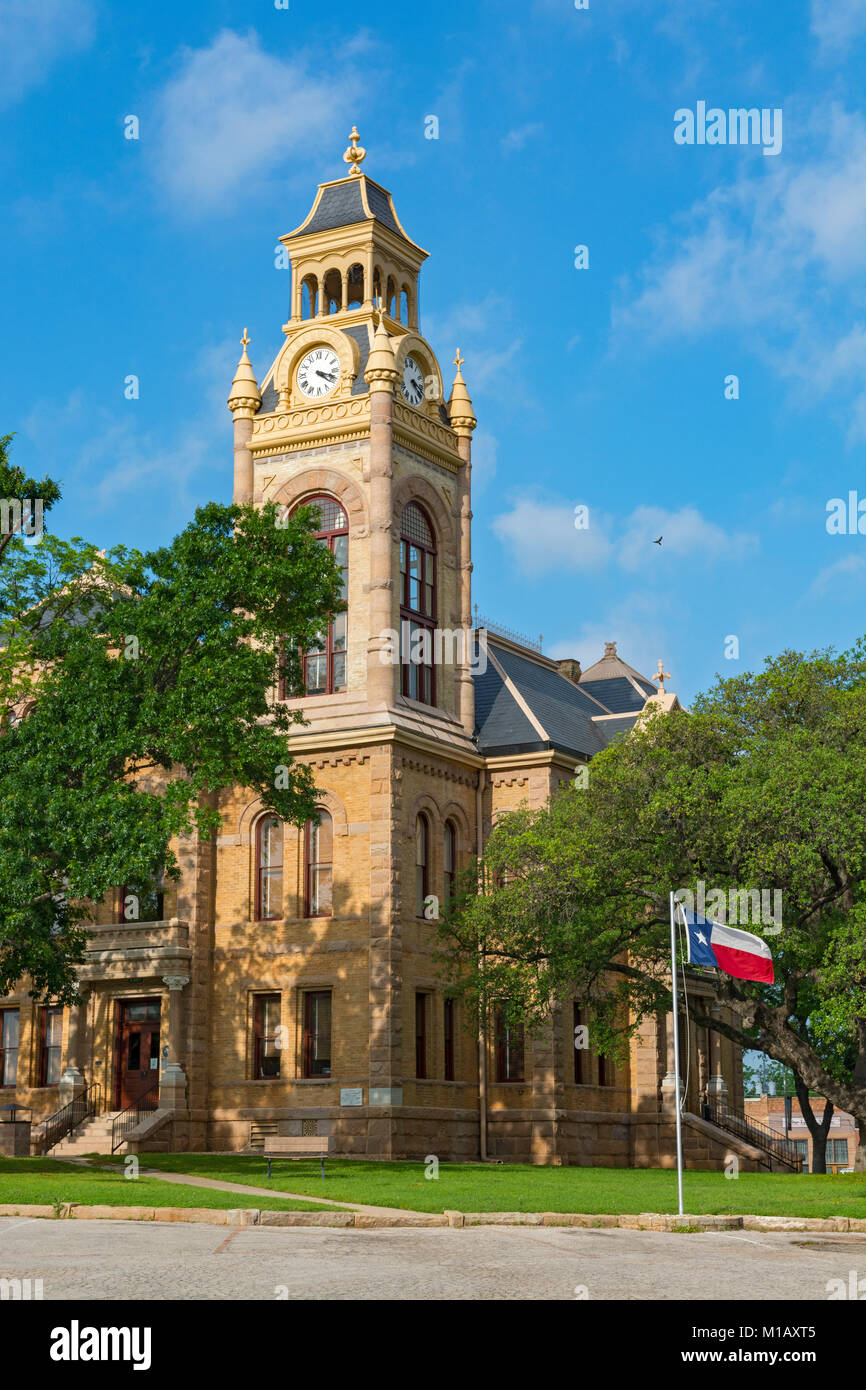 Texas, Hill Country, Llano County Courthouse built 1893 in the Romanesque Revival Style Stock Photo