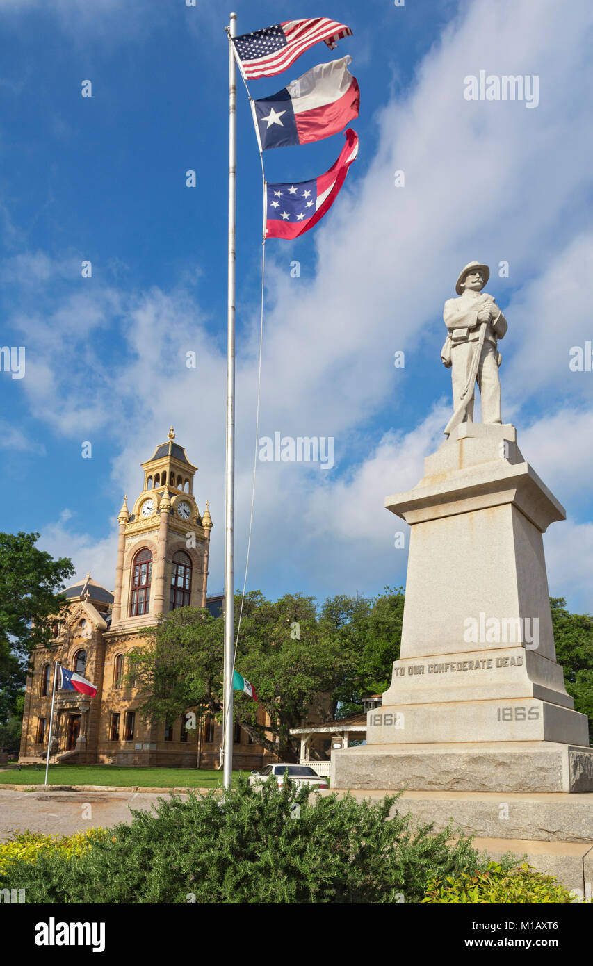 Texas, Hill Country, Civil War statue, Llano County Courthouse built 1893 - Stock Image