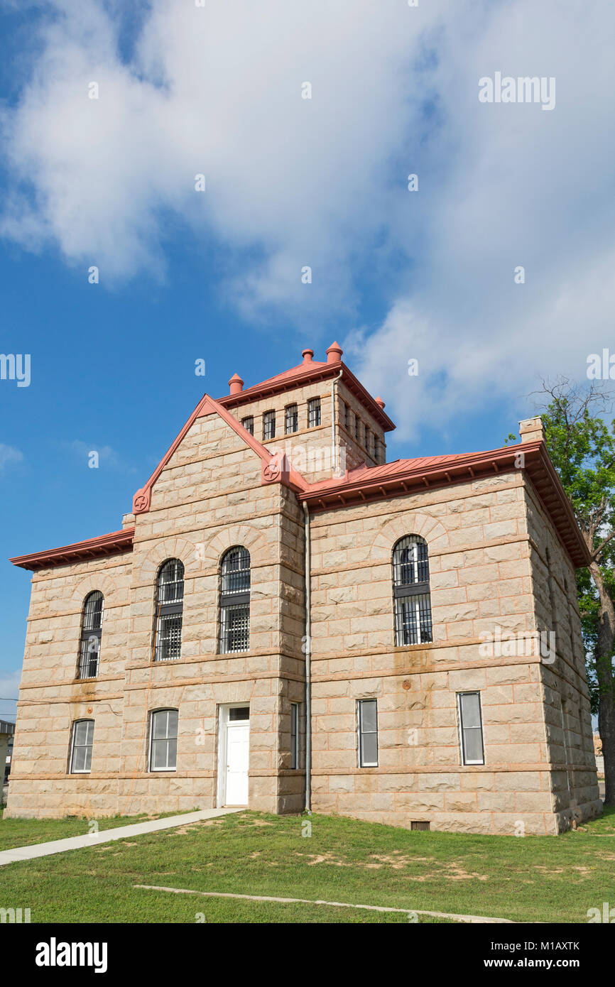 Texas, Hill Country, Llano Jail, built 1895 in the Romanesque Revival Style, aka  the 'Red Top' jail - Stock Image