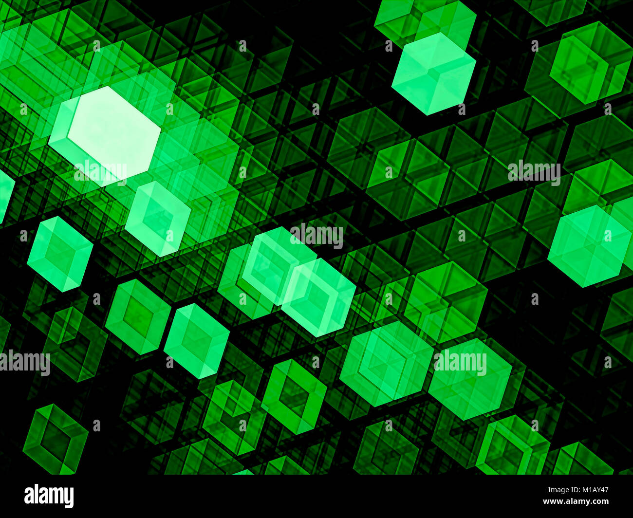 Tech chaos cubes - abstract digitally generated image - Stock Image