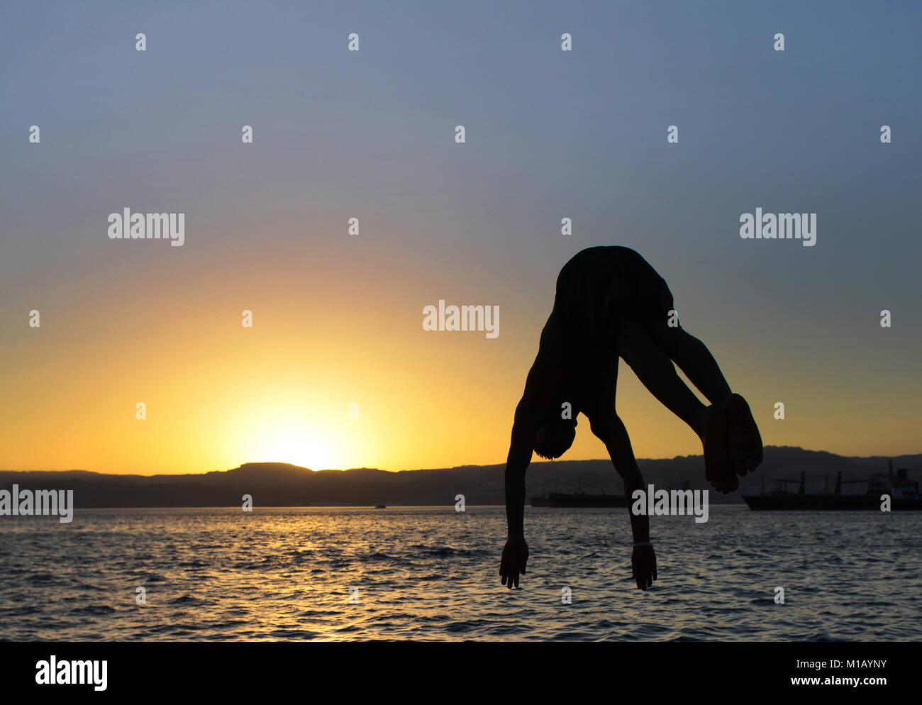 Sunset in Aqaba, Jordan. - Stock Image