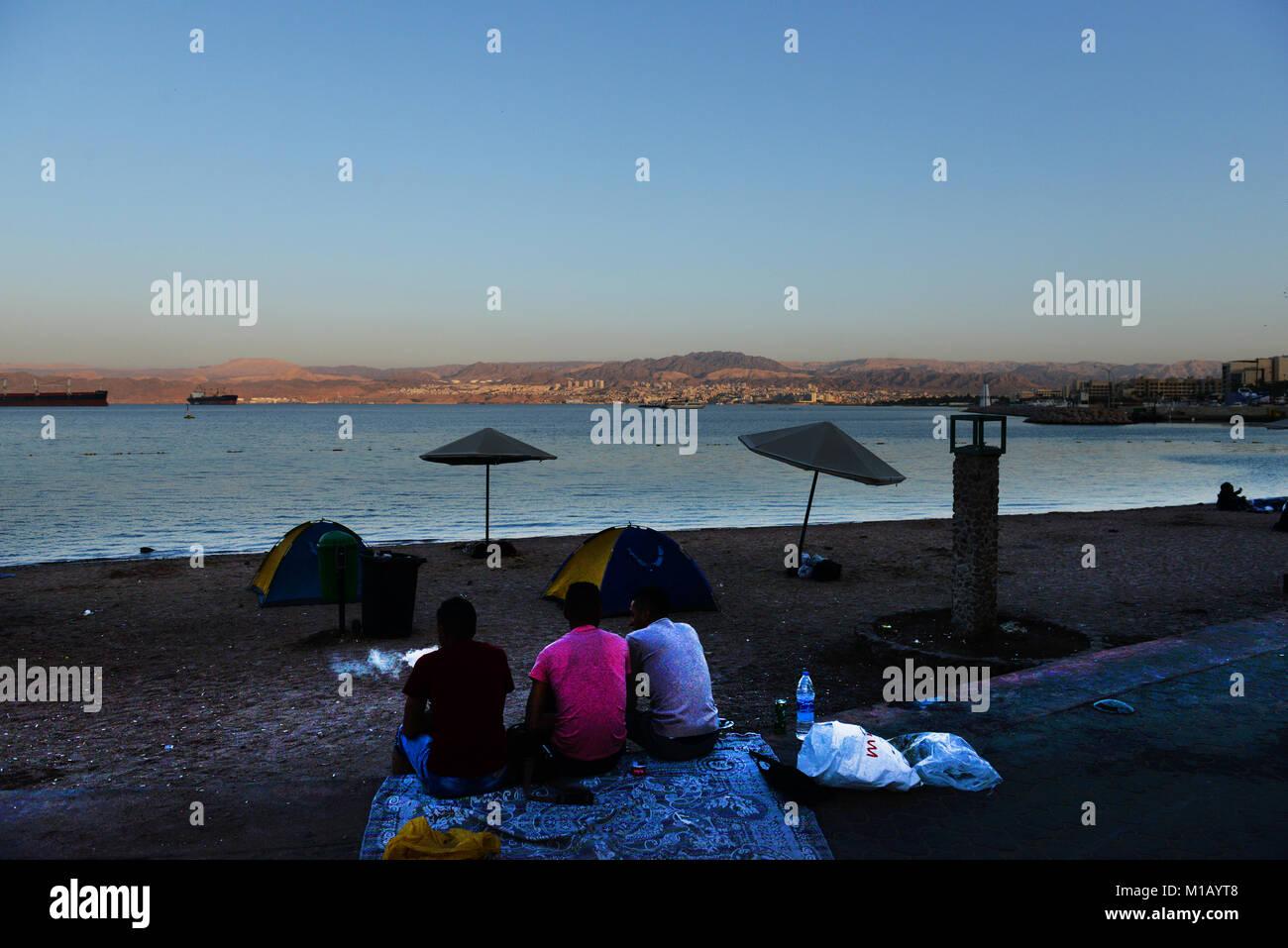 Early morning  on Al-Ghandour Beach in Aqaba, Jordan. - Stock Image