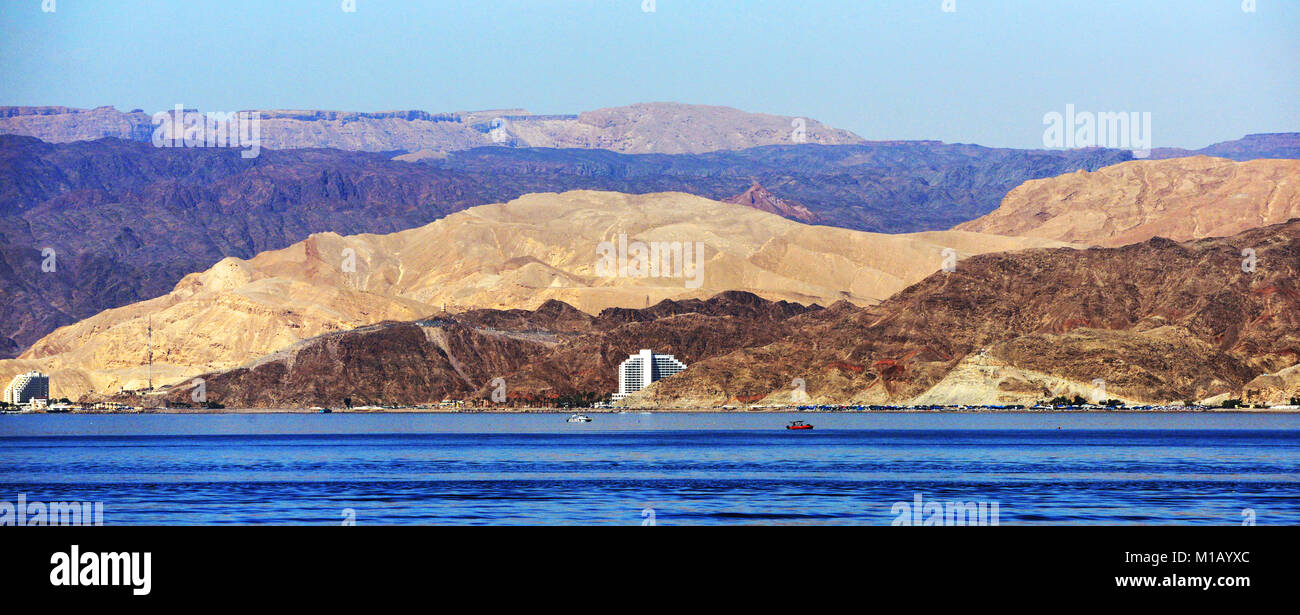 A view of Taba and the Egyptian - Israeli border area as seen from Aqaba, Jordan. - Stock Image