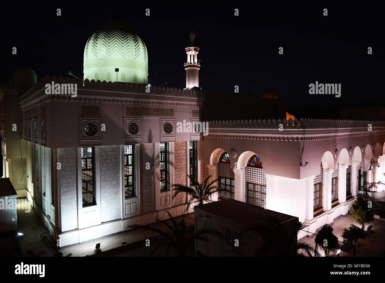 Sharif Hussein bin Ali Mosque at night. - Stock Image