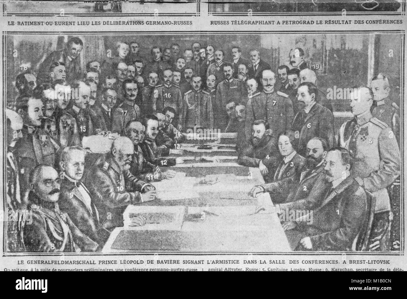 Negotiations for the Treaty of Brest-Litovsk in December 1917 - illustration (from photograph) in original 'Excelsior' - Stock Image