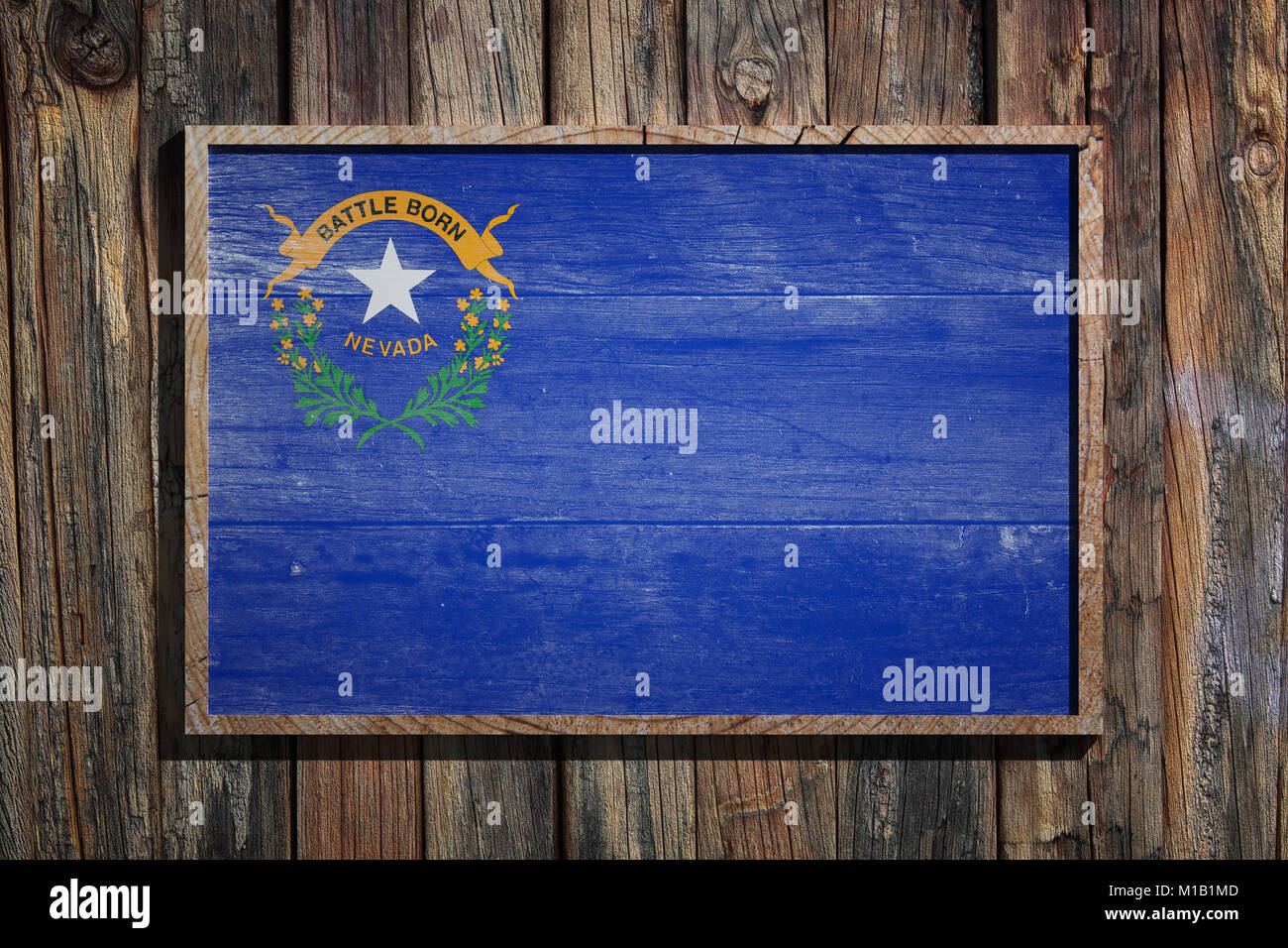 3d rendering of a Nevada State USA flag on a wooden frame and a wood ...