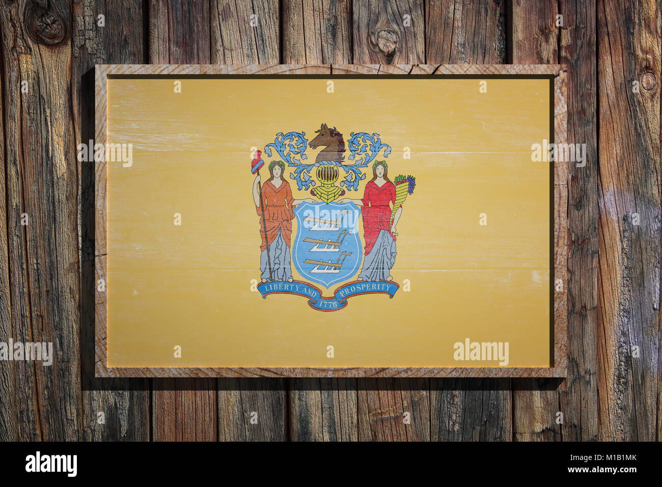 3d rendering of a New Jersey State USA flag on a wooden frame and a ...