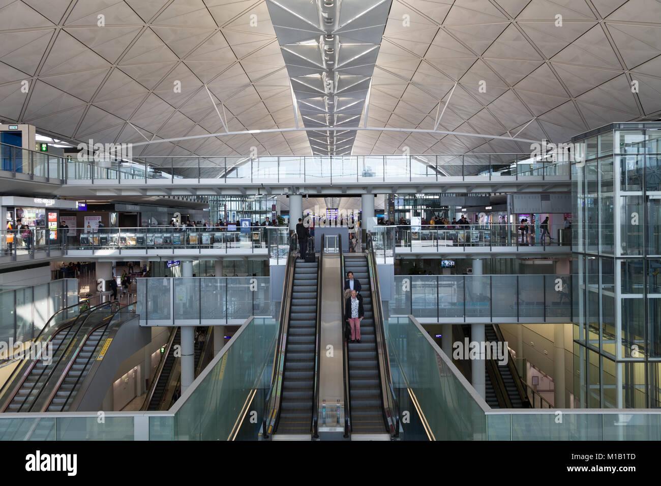 The departure terminal at Chek Lap Kok International Airport in Hong Kong, China. Thursday January 11th 2018 - Stock Image