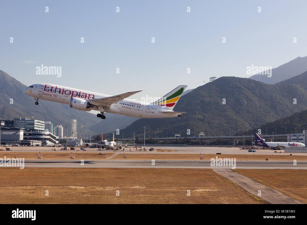 An Ethiopian Airways Boeing '787 takes of at Chek Lap Kok, International Airport, Hong Kong, China. Thursday January Stock Photo