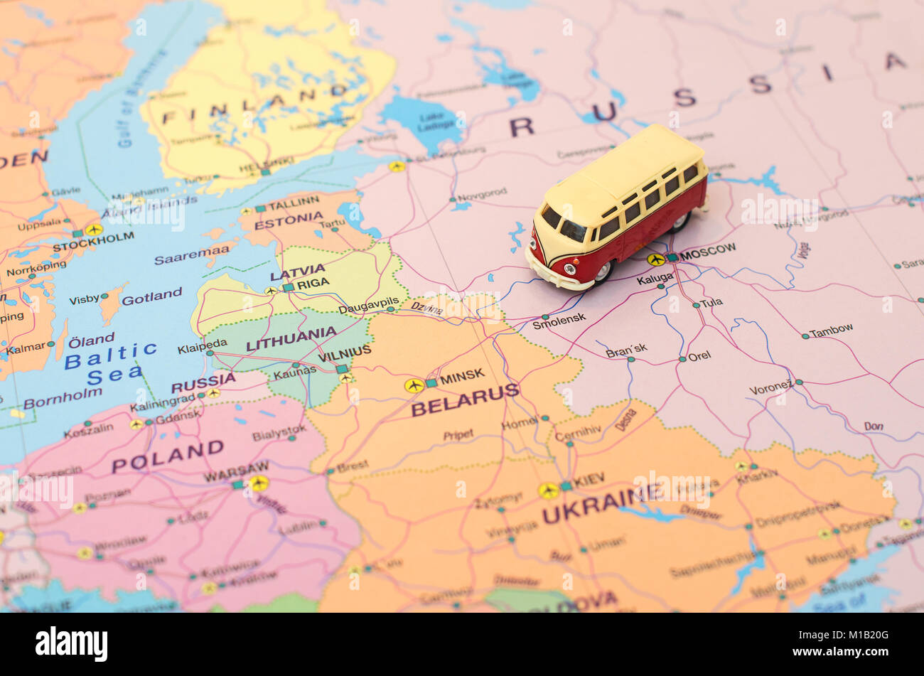 Concept of Europe car trip Car is on the map in Russia Stock Photo