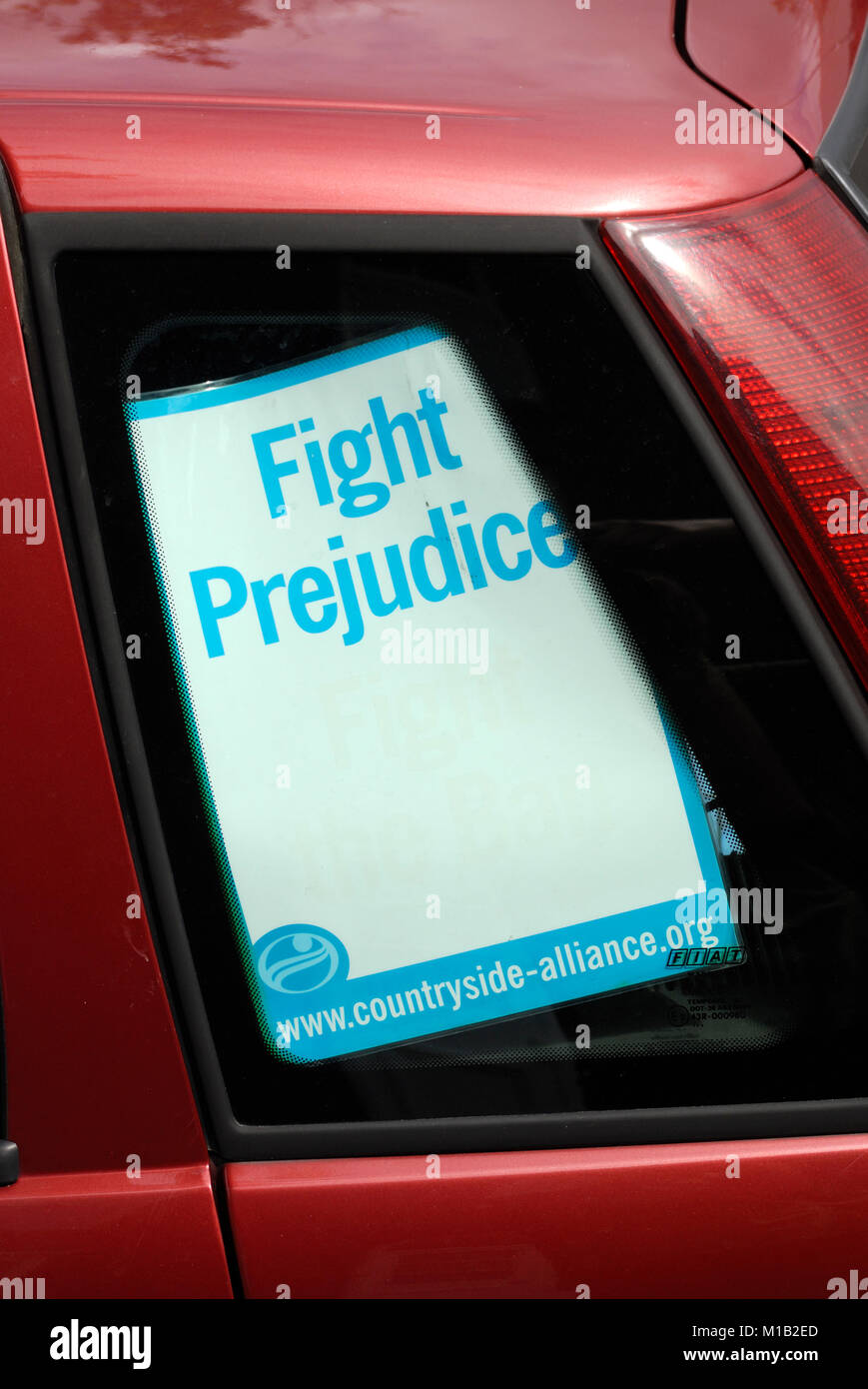 Countryside Alliance poster in a car window, Wales,  UK. Stock Photo