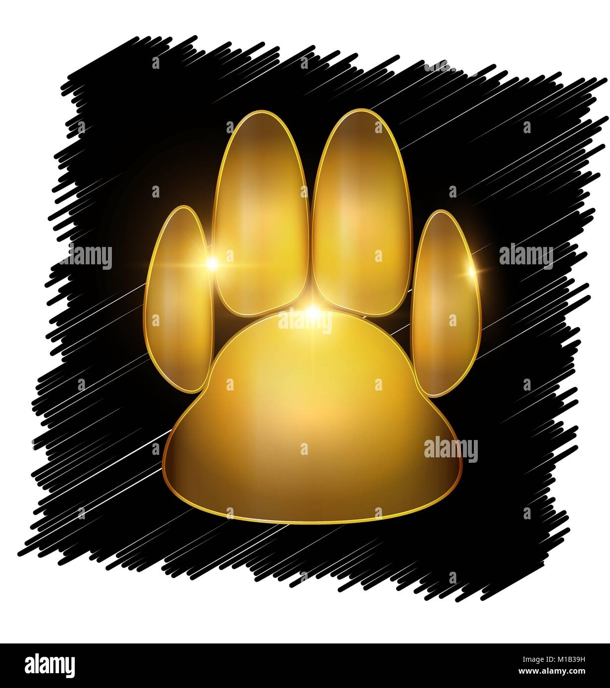 gold trace of paw - Stock Vector