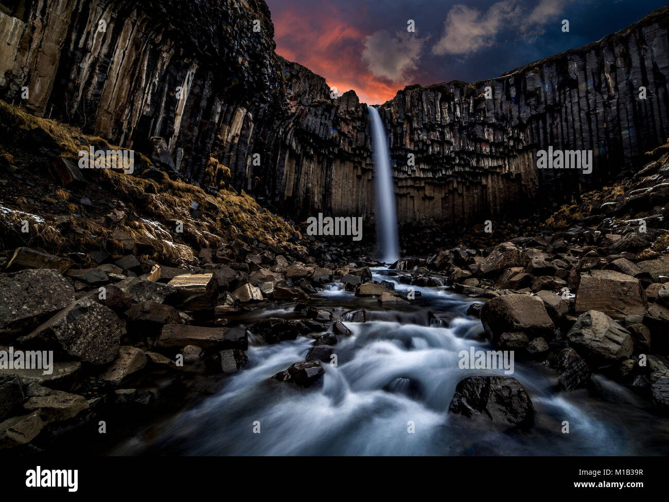 Black falls, or Svarti foss in Skaftafell national park on the south coast of Iceland - Stock Image