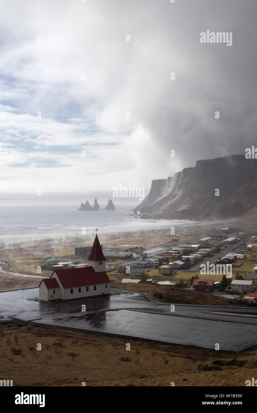 Small village of Vik i Myrdal on the south coast of Iceland - Stock Image