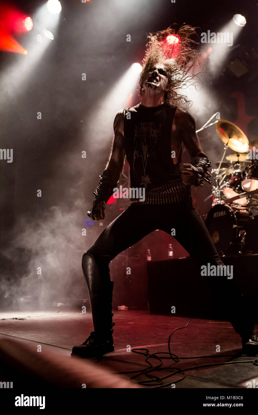 The Norwegian black metal band 1349 performs a live concert at the  Norwegian heavy metal festival Blastfest 2016 in Bergen. Here vocalist Ravn  is seen live ...