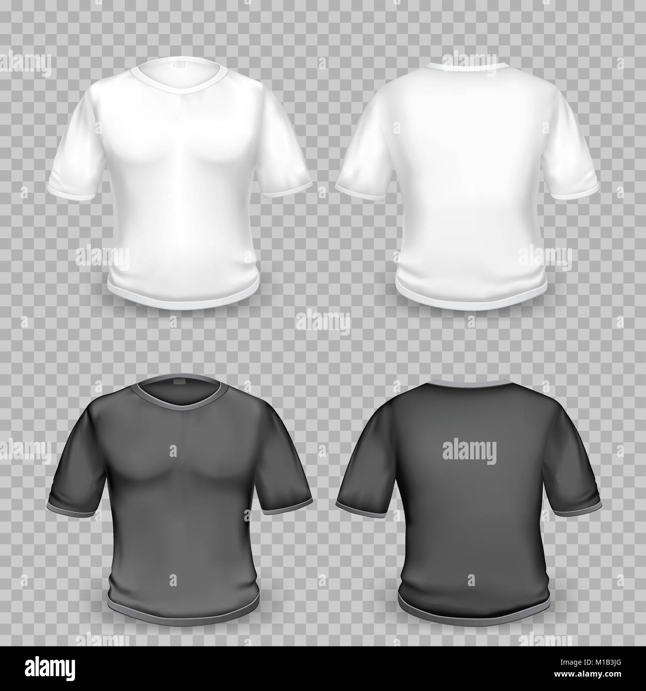 Black and white empty t-shirt template with shaow on transparent ...