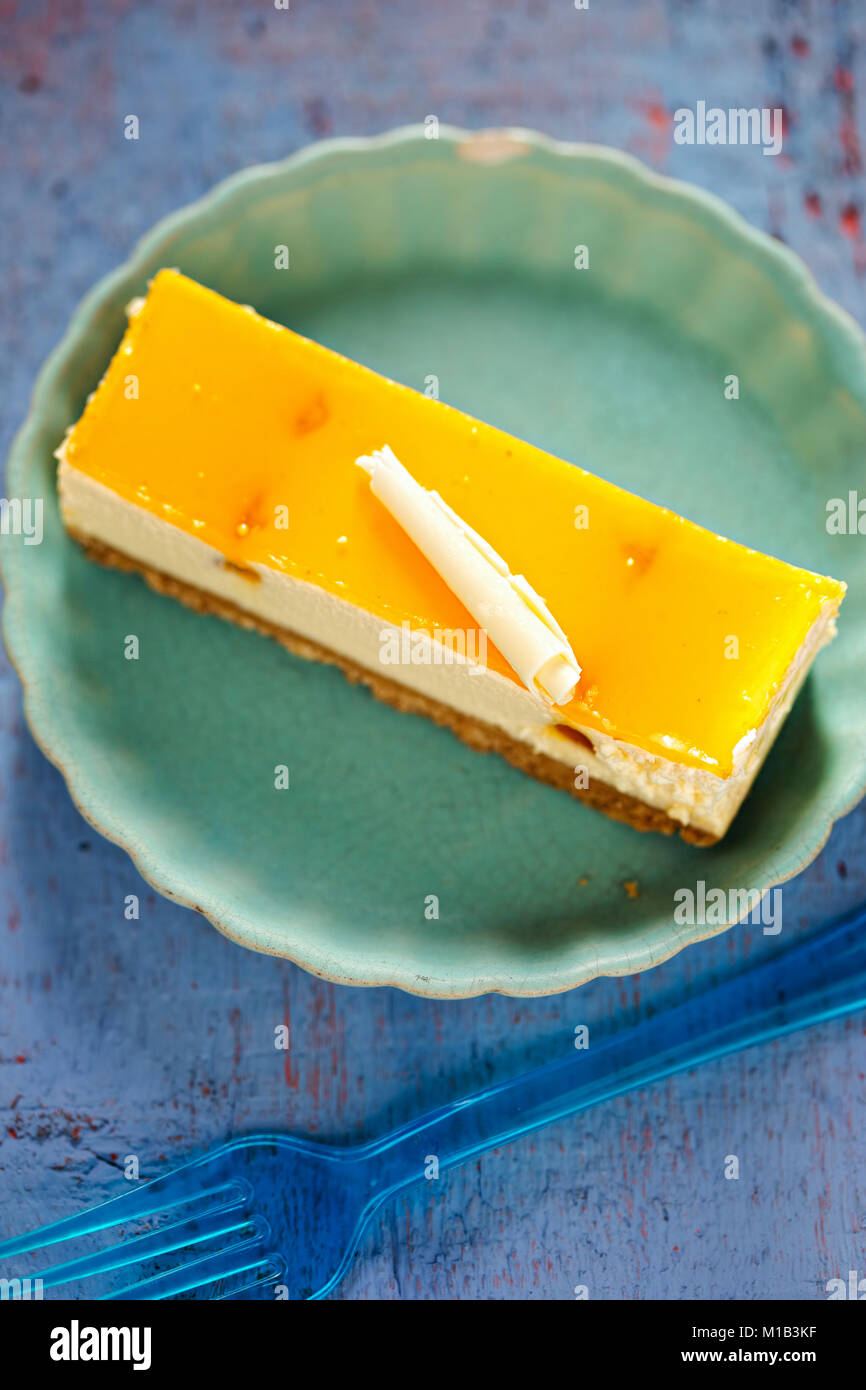 Peach and apricot cheesecake - Stock Image