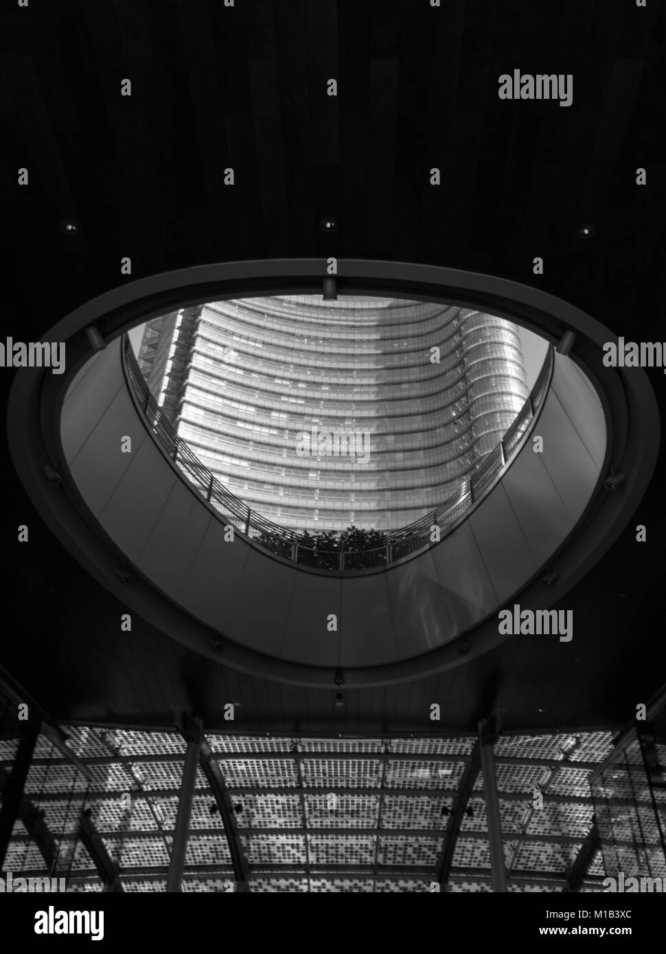 Inside the uni credit complex in porta Garibaldi, Milan. Piazza Gae Aulenti - Stock Image