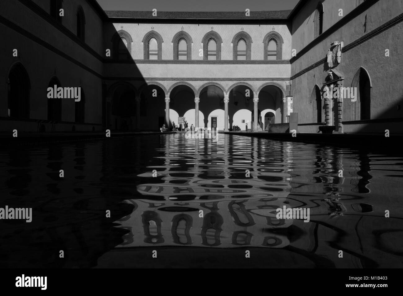Inside the sforzesco castel in Milan - Stock Image
