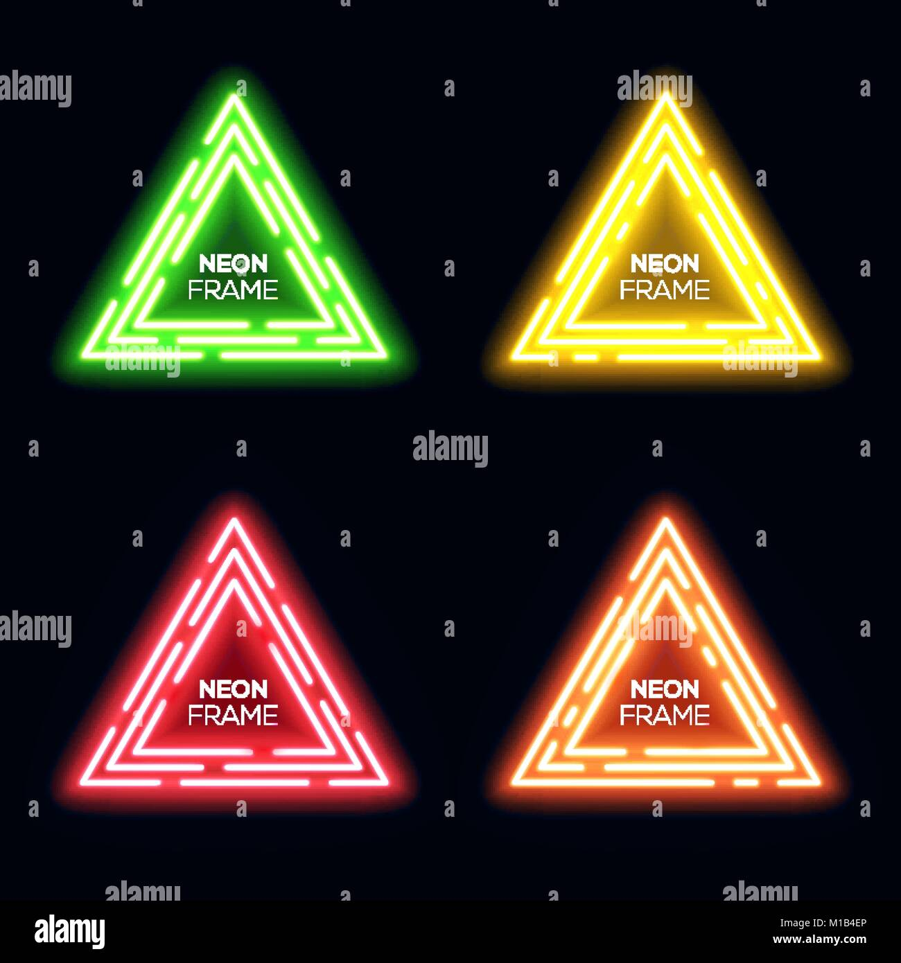 Green yellow red orange neon light triangles set. Shining techno frame collection. Night club 3d banners on dark - Stock Image