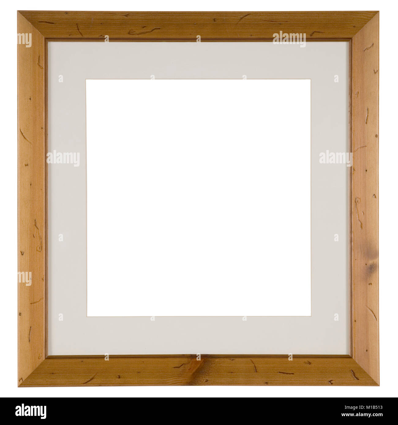 Empty picture frame, antiqued pine wood - Stock Image