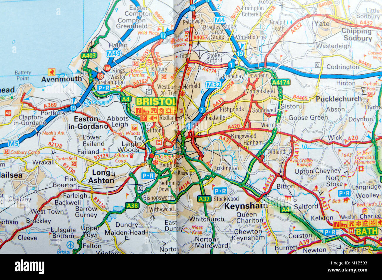 Bristol On The Map Of England.Road Map Of Bristol England Stock Photo 172963983 Alamy
