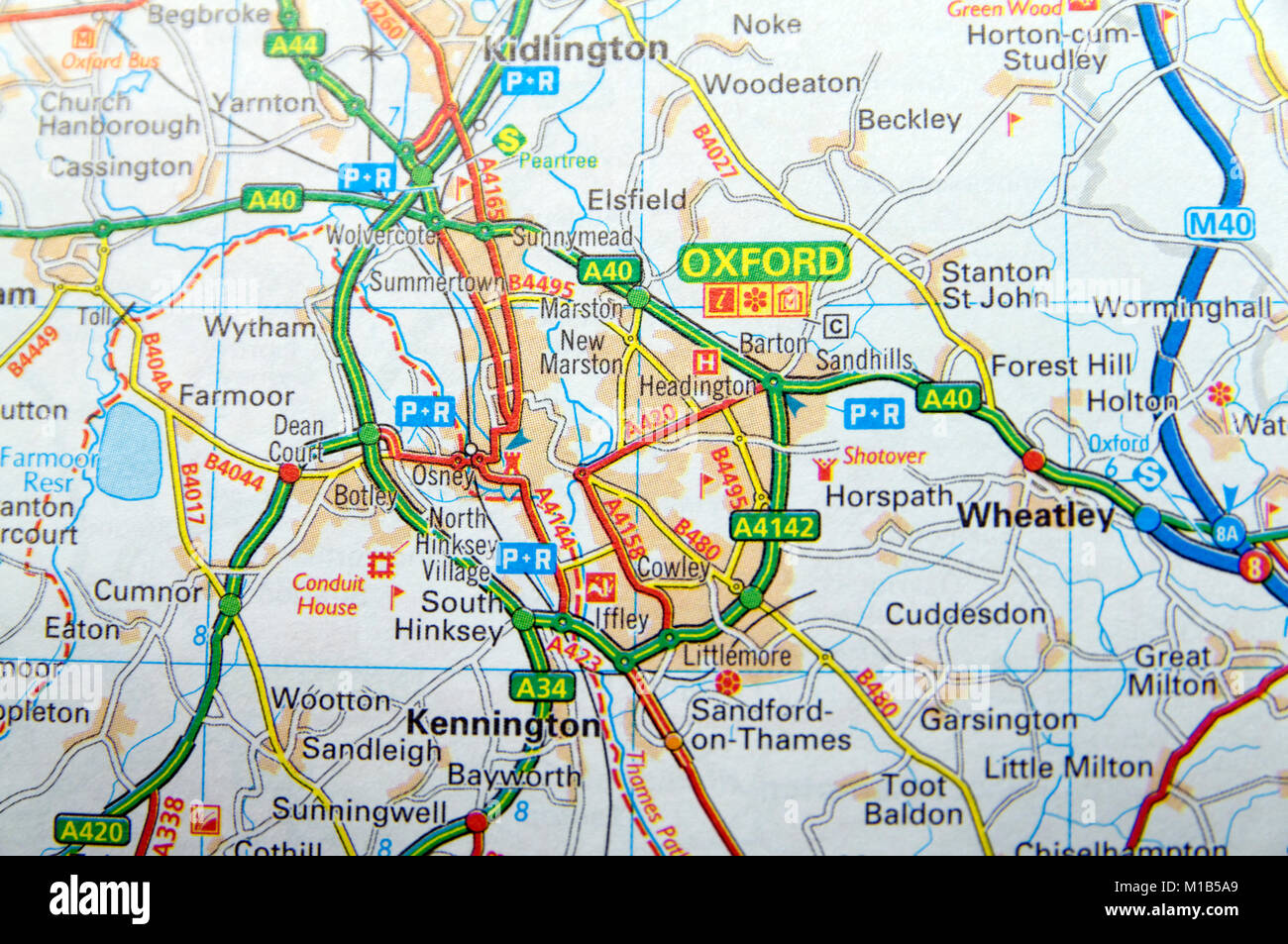Road Map Of Oxford England Stock Photo 172964017 Alamy