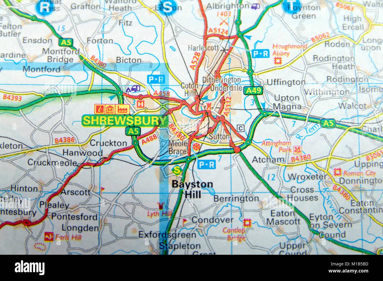 Road Map of Shrewsbury, England Stock Photo: 172964049 - Alamy