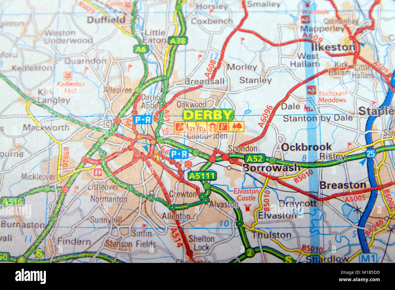 Road Map Of Derby England Stock Photo 172964105 Alamy