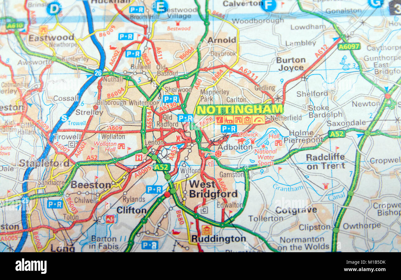 Nottingham Street Map Nottingham Street Map Stock Photos & Nottingham Street Map Stock