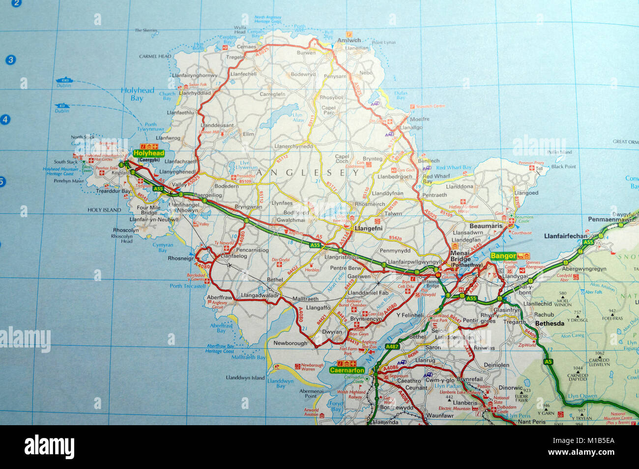 Map Of Anglesey Road Map of Anglesey or Ynys Mon, Wales Stock Photo: 172964130   Alamy Map Of Anglesey