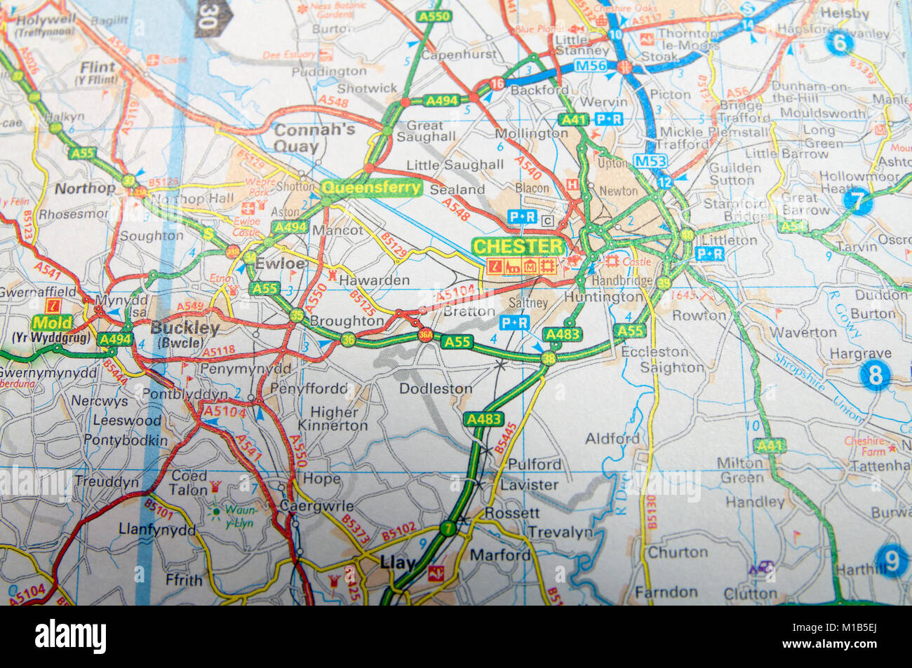 Road Map Of Chester England Stock Photo 172964138 Alamy
