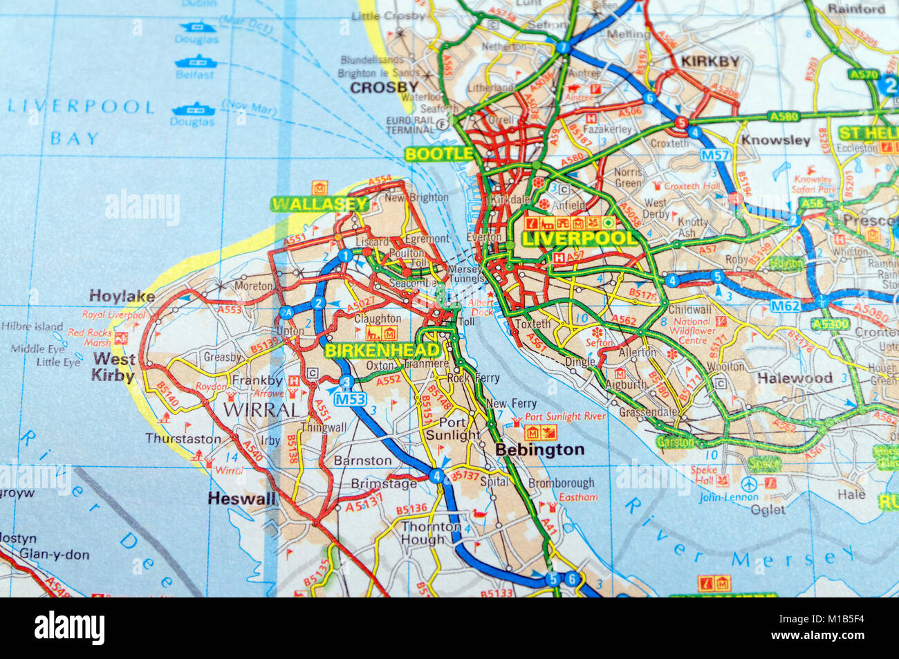Road Map of Liverpool,England Stock Photo: 172964152 - Alamy