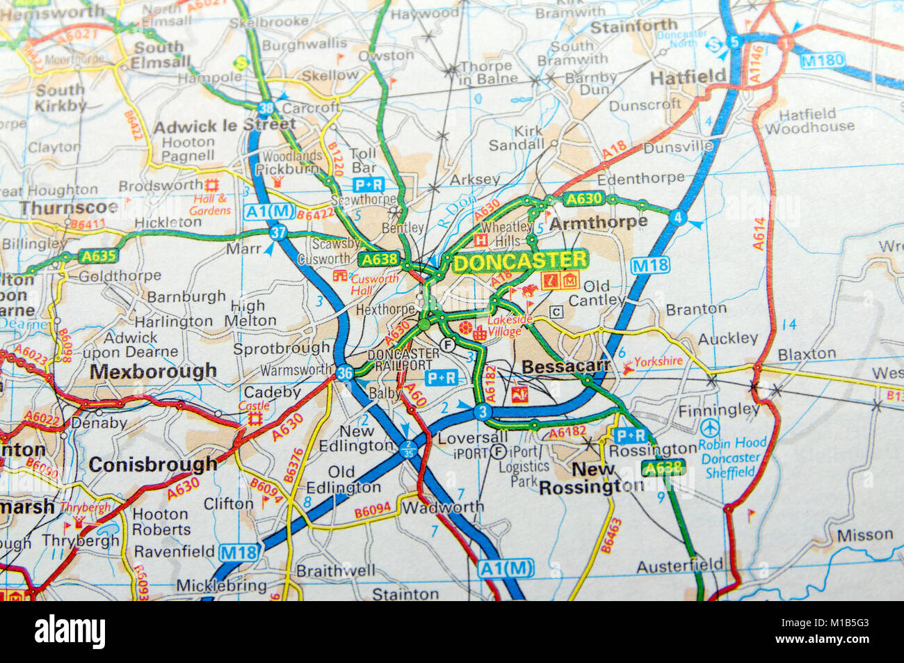 Road Map of Doncaster, England Stock Photo: 172964179 - Alamy