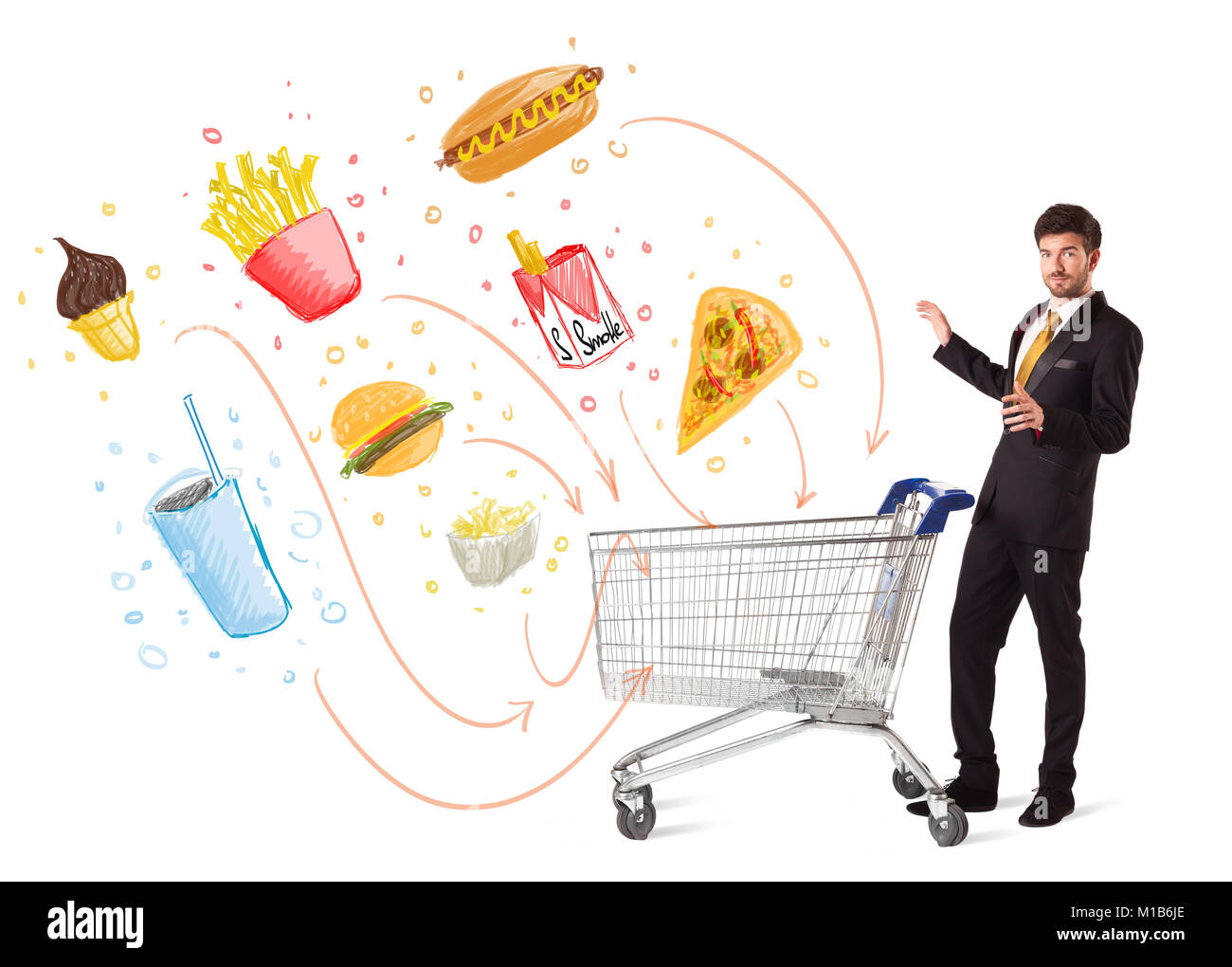 Businessman pushing a shopping cart and toxic junk food and cigarettes coming out of it - Stock Image