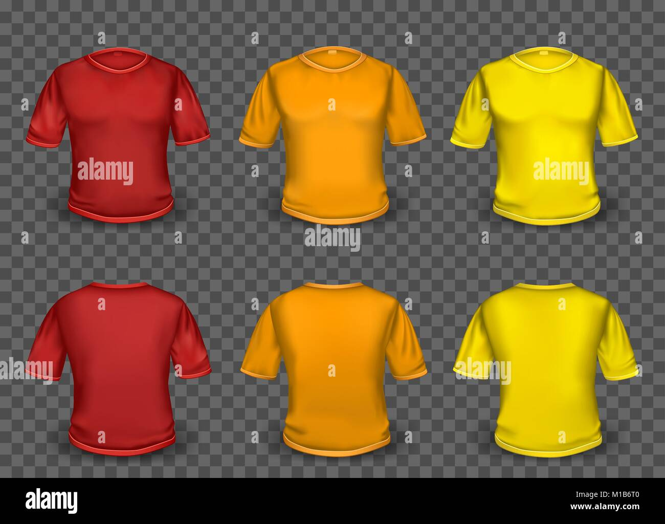 Red Orange And Yellow Empty T Shirt Template With Shaow On Stock