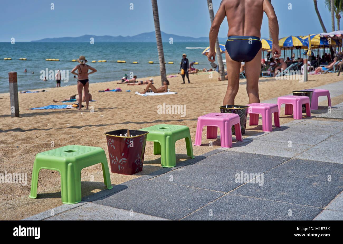 Designated Smoking area on a Thailand sidewalk following the introduction of a beach smoking ban. Pattaya Southeast - Stock Image