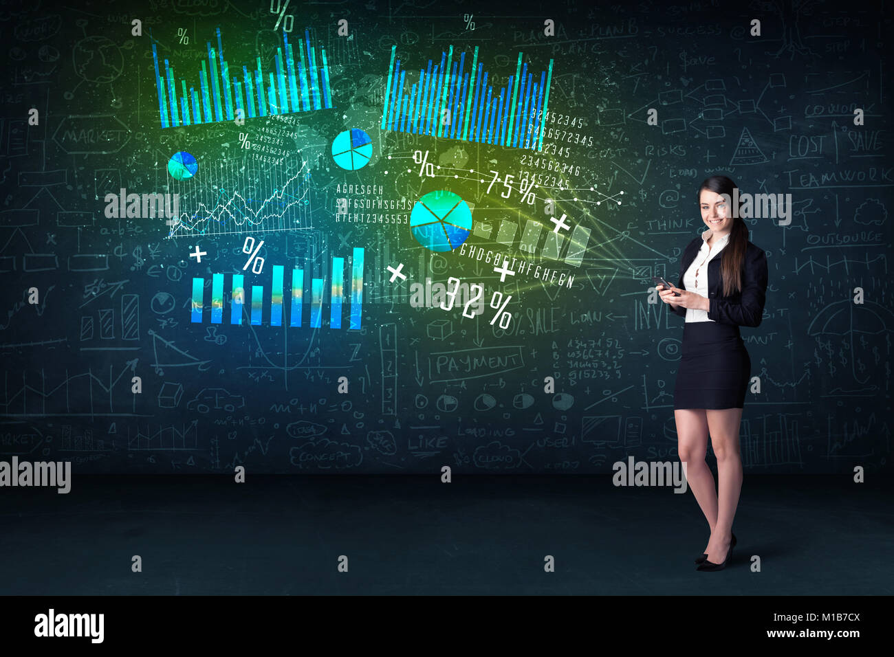 Businesswoman in office with tablet in hand and high tech graph charts concept on background - Stock Image