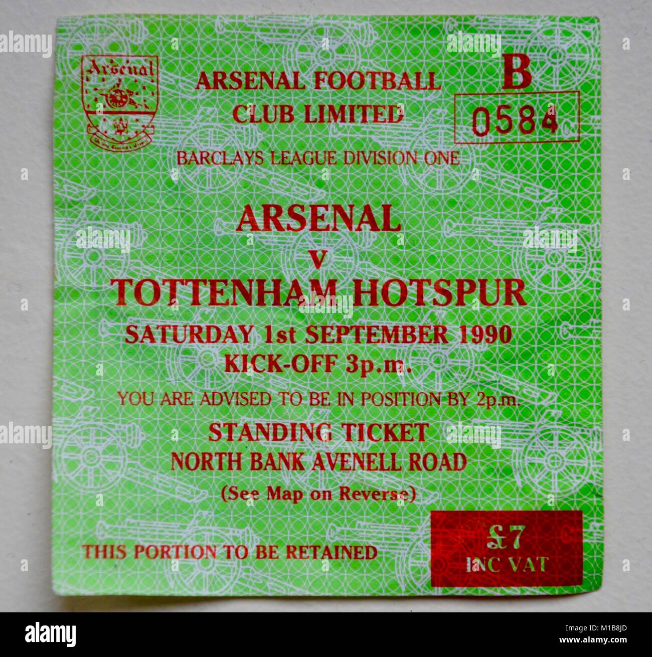 ticket for arsenal versus tottenham hotspur sep 1st 1990 barclays division one - Stock Image
