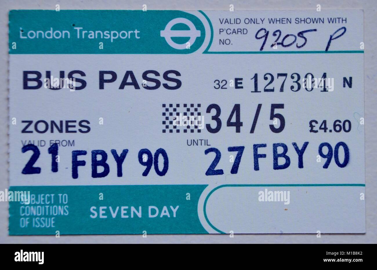 london transport bus pass weekly circa 1990 - Stock Image