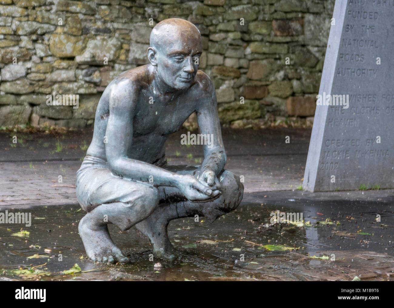 'He Wishes for the Cloths of Heaven'  William Butler Yeats poem memorialized the sculpture Jackie McKenna. - Stock Image