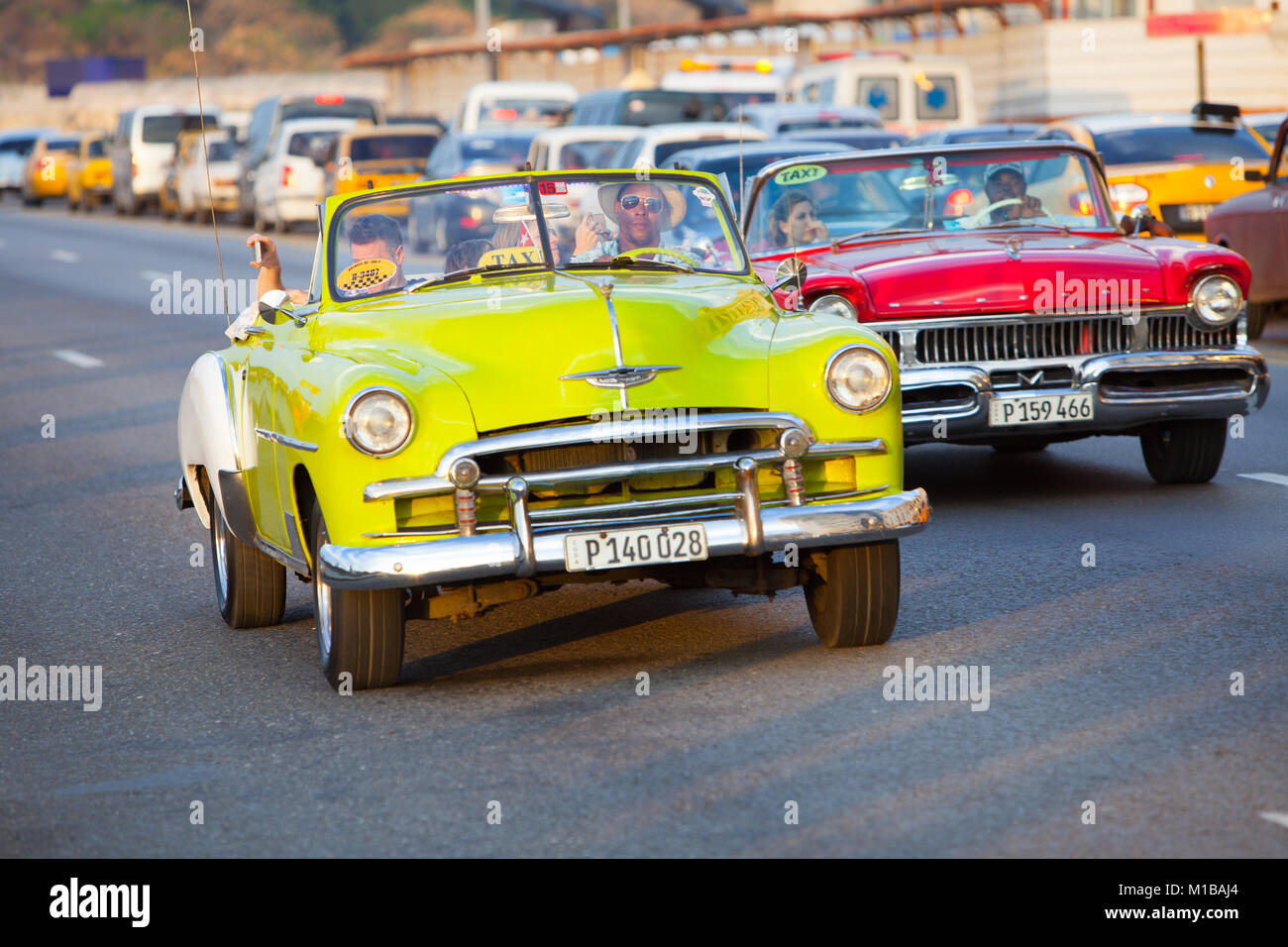 Vintage Convertibles on the Malecon - Stock Image